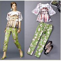 2014 New Fashion Women's Vintage Architectural Pattern Peach T-shirt Printing Quality Brand Dress Designer Pant Suit  LJZ017