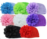 10 pieces / lot 2014 New 100% Handmade Hollow Out Drape Flower Crochet Baby Hats & Knitted Beanies Baby 0072