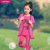 Children's clothing female child summer 2014 summer child summer child sports set short-sleeve piece set