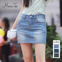 Denim short skirt female 2014 slim hip slim denim bust skirt female bust skirt