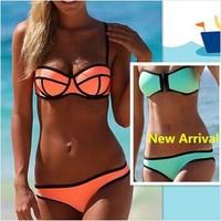 Swimwears Triangl Women's Fashion Neoprene Bikinis Woman New Summer 2014 sexy Swimsuit Set bath suit Push Up Bikini Set Hot Sale