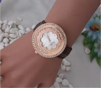 2014 Fashionable Woman Ms Gravel Adornment Watch Classic  Geneva Leather Watch