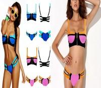 Free Shipping Zipper Swimwear Push Up Neoprene Bikinis Set Women maillot de bain Bandage Swimsuit Set Woman bathing suits