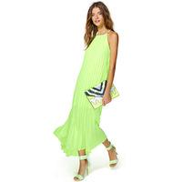 Fashion new European women's lime green pleated maxi dress brand desigual halter long chiffon dress vestido longa nasty gal