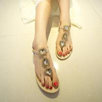 2014 rc big rhinestone metal flat heel flat flip-flop fashion all-match lady sandals,SHO2149