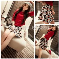 2014 summer  half sleeve slim waist half sleeve top headcounts fancy pattern umbels bust skirt set