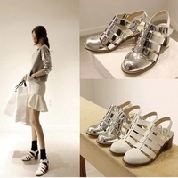 2014 thick heel gladiator style women's shoes strap cutout solid color women high-heeled sandals,SHO2147