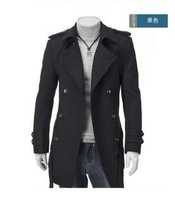 2014 Free Shipping New Men Long Double-breasted Coat Casual Male Jacket Black/Gray Promotion Winter Long Coat Size M L XL XXL