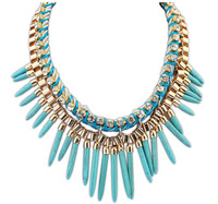 Hot Sale Punk Style Rivet Tassel Collar Fashion Long Chain Antique Multicolor Plated Spike Pendant Necklace