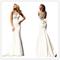 Appliqued Beaded Crystal White Evening Dresses 2014 New Arrival Elegant Party Dress Long Evening Gown With Free Shipping
