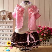 2014 children's autumn clothing female child spring and autumn child princess dress set long-sleeve piece set