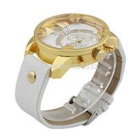 Atmospheric clock selling DZ7273 men's watch Famous luxury brand Leather Quartz LIFE waterproof watches,Gold big Dial wristwatch