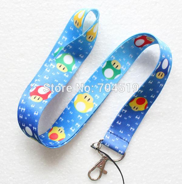 New arrive 10pcs Super Mario blue mushroom head LANYARD PHONE STRAP free shipping(China (Mainland))