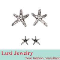 Vintage Star Rhinestone  Stud Earrings for Women 2014 European Fashion Statement Jewelry Alloy 2 Colors