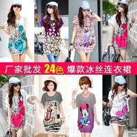 Free shipping new short-sleeved summer dress printing large size women's long T-shirt