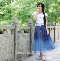 Skirt 2014 summer denim full skirt expansion bottom bust skirt summer pleated skirt plus size clothing