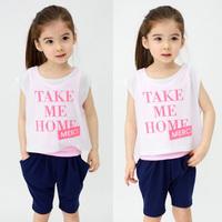 2014 summer letter girls clothing child T-shirt short-sleeve vest capris three pieces set tz-1296