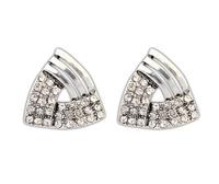 Free shipping dreieck ohrringe hot girl's smart ear jewelry silver earrings rhinestone fashion triangle stud earrings