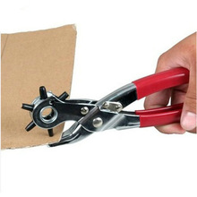 New Free Shipping 8 inch New 6 Sized Heavy Duty Leather Hole Punch Hand Pliers Belt Holes Punches