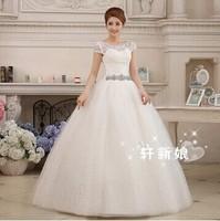 2014 Fashionable Romantic Sexy Lace Vintage Bandage Wedding Dress Short Sleeve Plus Size Salomon Women Ball Gown Princess Dress