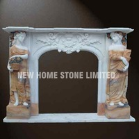 Mix Color marble carved fireplace mantels 100% hand carving statue
