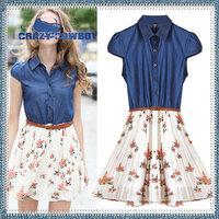 2014 summer slim waist short sleeve turn-down collar pleated print flower chiffon beach dress with sashes women sexy dresses