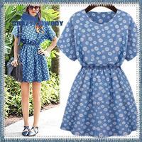 European summer 2014 new fashion brand big dot slim waist o-neck short sleeve cute dress sexy vintage women print dresses S-XL