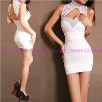Free shipping Chinese style cheongsam fashion lace halter dress sexy tight hip nightclub ladies women dress