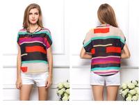 2014 color stripe casual fashion all-match Chiffon pullover shirt