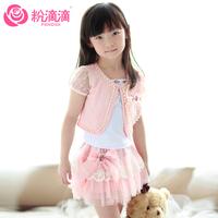Powder children's clothing three piece set female child set children's clothing 2014 set dresses skirt children's clothing