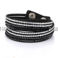 New Arrival Fashion White and Black Crystal  Pave Black Leather Bracelet 4 strands Crystal Wrap Bracelets