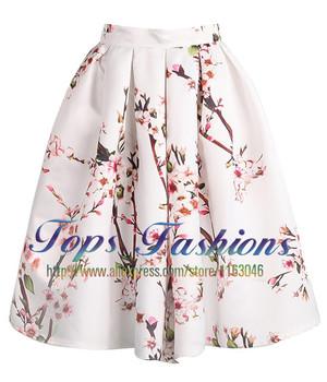 2014 Summer Plain Flare Среднийi Skirt For Женщины Белый Floral Pleated Skirt