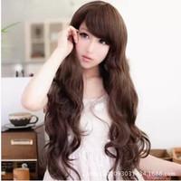 5 Colors Long Wavy Wig Dark Brown/Blonde/Wine Red /Black Girl Women Full wigs