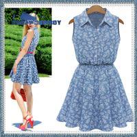 European summer brand clothing print flowers slim sleeveless dress blue bohemian maxi party sexy beach short dresses for women