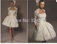 Amazing New Design Lace Jacket & Pocket Mini Short Wedding Dress Satin & Lace Vestidos Bridal Gown Beautiful Sash Bow