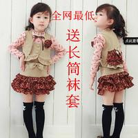 2014 female child spring skirt set 100% cotton long-sleeve piece set princess children's clothing