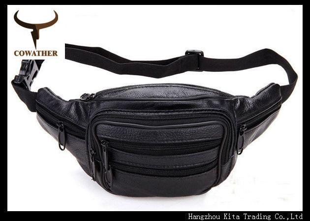 Fashion style good quality PU and cow men waist bag for men,men belt bag free shipping,men's waist packs(China (Mainland))