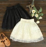Spring and summer short skirt 2014 organza puff skirt lace basic half-length skirt organza short skirt