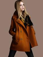 2014 latest lady coat zipper stitching Slim woolen long coat jacket free shipping European and American popular