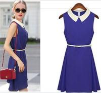 Women Summer  Dresse New Arrival Candy Color Women Chiffon Dress With Belt Elegant  Girls' Peter Pan Collar Dress