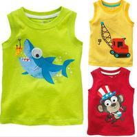 2014 hot Kids Summer Boys T-shirt girls t shirt vest yellow 100% cotton cartoon free shipping chlidren's clothing