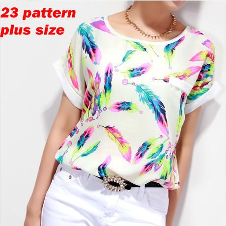 Feather Women Blouses Shirt Chiffon Plus Size Feminina Top Tee Short Shirt Women Clothing Blusa Camisa Summer Tops Shirt Floral(China (Mainland))