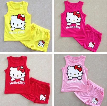 AliExpress.com Product - 2014 Hot Summer girls' suits Hello kitty KT Cat cartoon baby suit short-sleeved T-shirt + shorts Set girls baby kids child cloth