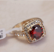 gold plated Ring, Big Simulated Ruby diamond finger rings ,women crystal stamped 18KGP gold filled jewelry