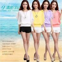 2014 Summer New Fashion Woman Flounced Chiffon Shirt Atmospheric Sleeved Chiffon Blouse + Necklace