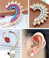 Women fashion personality elegant crystal rhinestone earrings, ear cuff