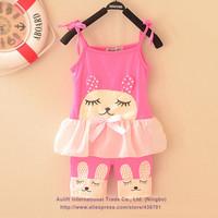 2014 New fashion Summer kids clothing set carters baby girls supspender dress +pants character rabbit lace hem sleeveless dress