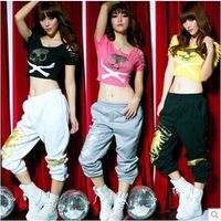 New Hip Hop Dance Jazz Costume Sports Women gaffiti Pants DS Skull Hole woman trousers