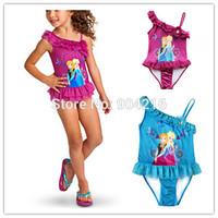 Hot Movie Girls Princess Frozen Elsa Anna Swimwear Ruffle Swimsuit Bathing Suit 2 Colors
