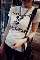Free Shipping New 2014 t shirt women's t-shirt Short Sleeve fashion women tees Cotton Cartoon Mouse O-neck tops
